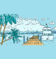 tropical pier vector image vector image