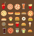 twenty five icons fast food vector image