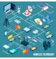 wireless technology isometric flowchart vector image vector image