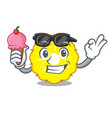 with ice cream character pineapple slice fresh vector image