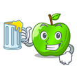 with juice perfect fresh green apple on cartoon vector image