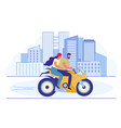 young loving couple riding motorbike in city vector image vector image
