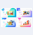 young woman and her cat website landing page set vector image vector image