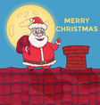 Cartoon Santa Claus Character standing on roof vector image