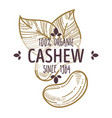 100 percent organic cashew nut label with leaves vector image vector image