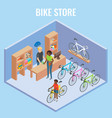 3d isometric bike shop concept vector image vector image