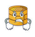 angry bamboo steamer food isolated on mascot vector image