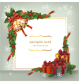 Christmas wreath with bells and gifts vector image vector image