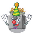clown deep fryer machine isolated on mascot vector image