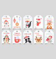 cute animals christmas tags holiday gift tag with vector image vector image