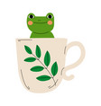 cute frog in teacup adorable little amphibian vector image vector image