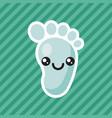 cute kawaii smiling baby foot cartoon icon vector image