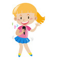girl with microphone singing and dancing vector image