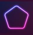 gradient neon pentagon blue-pink glowing border vector image vector image