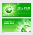 green globe planet banners set vector image vector image