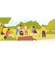 group diverse children cleaning up city park vector image vector image