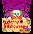halloween background card with clown vector image