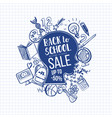 hand-drawn back to school sale on head vector image vector image