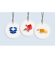 hanging shipping badges vector image vector image
