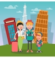 Happy Family Travelling to Europe vector image