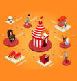 isometric circus composition vector image vector image
