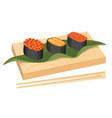 japanese cuisine sushi set gunkanmaki ikura vector image