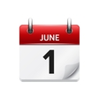 June 1 flat daily calendar icon Date and vector image vector image