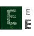 leaves alphabet letter e vector image