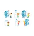 little children having fun with big carton milk vector image vector image