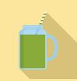 matcha smoothie jar icon flat style vector image vector image