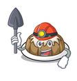 miner bundt cake mascot cartoon vector image vector image