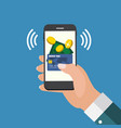 mobile payment flat concept vector image vector image