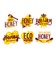 natural and eco farm honey packaging labels and vector image