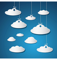 Paper Clouds With Strings on Blue Background vector image vector image