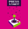 press start vintage gamepad vector image vector image