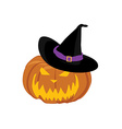Pumpkin in hat vector image