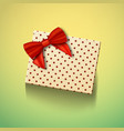 realistic gift box with red ribbon greeting card vector image vector image