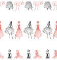 seamless pattern sketches women in evening vector image