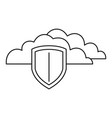 secured cloud data icon outline style vector image vector image