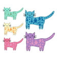 set cute cats in simple design for kids vector image