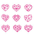 set of polygonal linear heart symbols vector image vector image