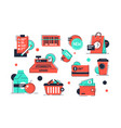 set shopping icons products and market vector image