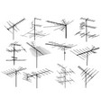 set silhouettes different television antennas vector image vector image