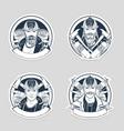 set sketch fireman stickers vector image vector image