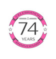 seventy four years anniversary celebration logo vector image vector image