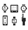 smart watch and heartbeat line logo template vector image vector image