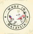 Stamp with map flag of Malaysia vector image