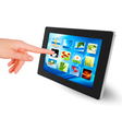 tablet pc with icons women hand vector image vector image