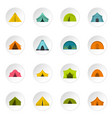tent forms icons set in flat style vector image vector image