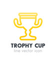 trophy cup goblet line icon vector image
